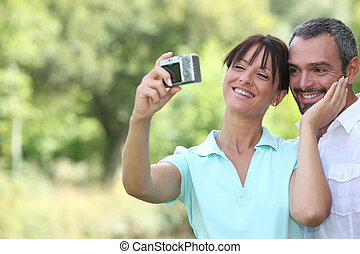 couple taking a self portrait