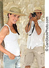 Tourists taking a photograph