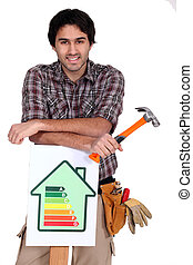 worker showing energy rating sign