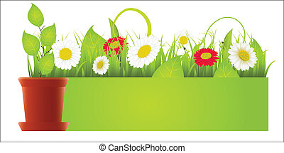 Vector spring green border with grass and flowers