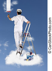 Decorator painting the sky