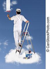 Decorator painting the sky
