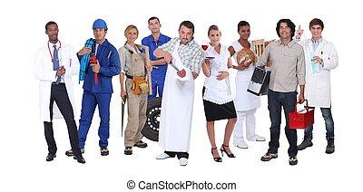 ambicioso, trabajadores, diferente, industrias