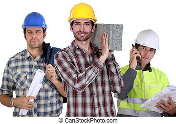 tres, construcción, trabajadores