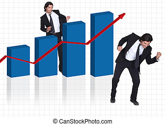 Happy businessman with increasing chart