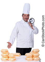 Male chef with megaphone