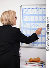 Mature businesswoman writing on a wall planner