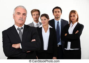 Um, equipe, negócio, profissionais