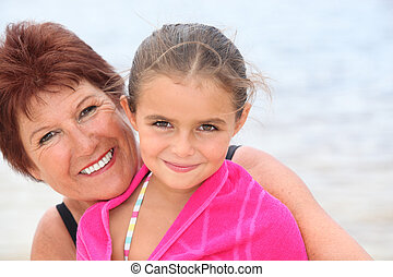Older woman with her granddaughter