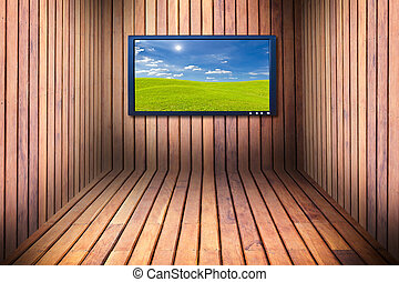 wide screen television in wooden room
