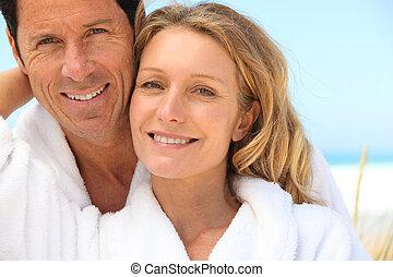 tender senior couple near the sea