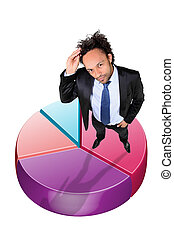 Young businessman stood with pie-chart