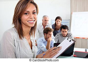 gruppo, lavorativo, ufficio
