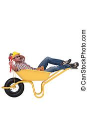 Unmotivated, trabalhador, Descansar, carrinho de mão
