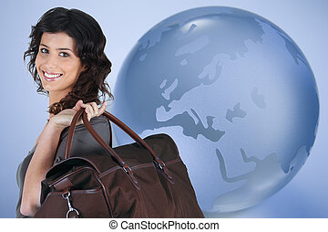 Woman traveling all over the world