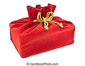 red fabric gift bag isolated - blue fabric box isolated