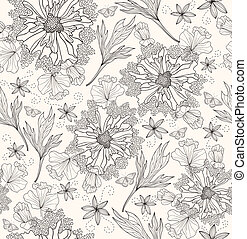Seamless flowers pattern - Abstract floral pattern. Seamless...