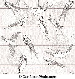 Extracto, seamless, pájaro, patrón