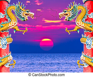 dragon statue and sunset