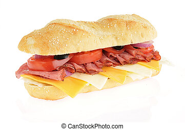 Roast beef submarine sandwich
