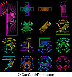 Set of numbers with radiant pattern - Signs of numbers and...