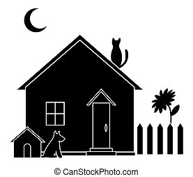 Small house, silhouette - House with dog kennel and kitchen...