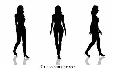 silhouette of woman - walking womans silhouette