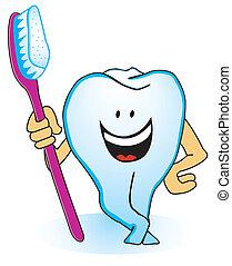 Um, dente, escova de dentes