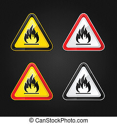 Hazard warning triangle highly flammable warning set sign