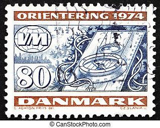Postage stamp Denmark 1974 Compass, Orienteering - DENMARK -...