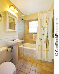 Small bathroom with modern white shower - Small beige...