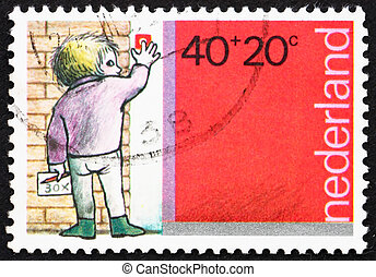 taxa postal, Menino, Países Baixos, tocando,  1978, selo, campainha