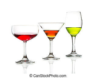 wine glass and colorful cocktail isolated
