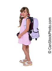 Young girl with her schoolbag