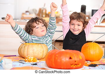 two children at Halloween party