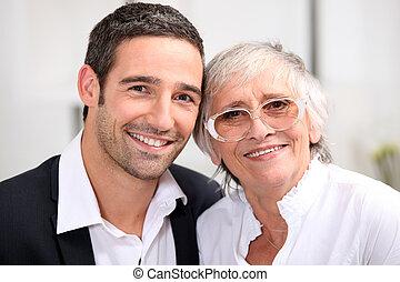 Adulto, hijo, el suyo, envejecimiento, madre