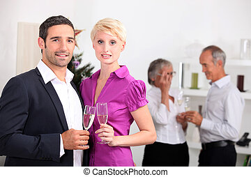 Couple having a get-together