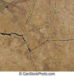 split crack in beige marble stone