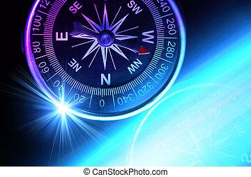 Compass composition for traveler, conceptual colorphoto,...