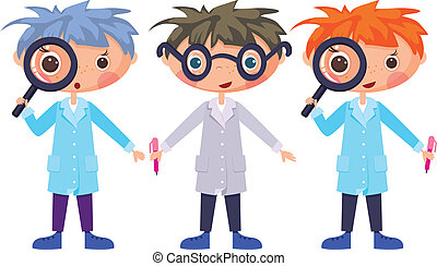 Cartoon scientists and magnifying glass. EPS10. Contains...