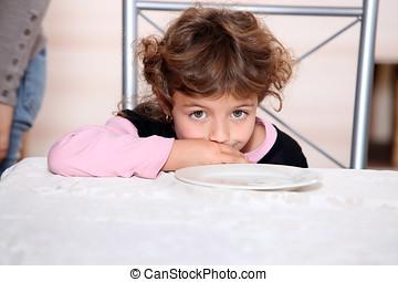 pequeno, menina, sentado, vazio, prato