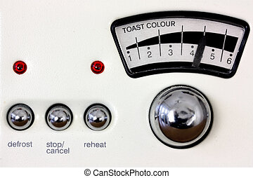 Toaster dial and chrome knobs