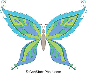 Symbolical colorful butterfly with opened wings on white...