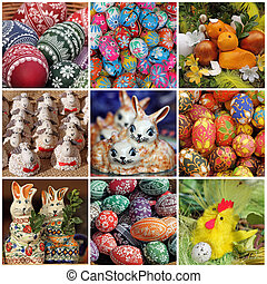 Easter collage - composition wit Easter decorations, Poland