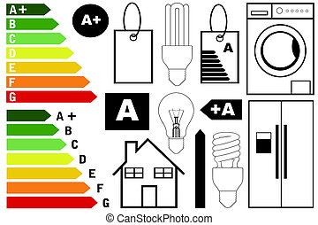 Energy efficiency elements isolated on white