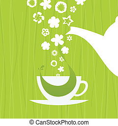 Tea - In a cup green tea. A vector illustration