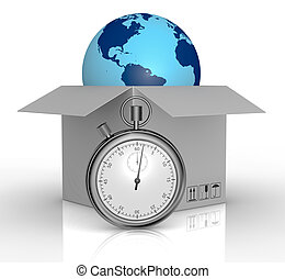 fast delivery - one carton and a world globe coming out with...