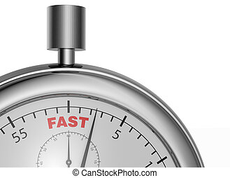 fast service - one stopwatch with the word: fast, on the...