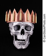 skull - A human silver skull with a crown from copper and...