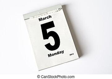 5 March 2012 - calendar sheet